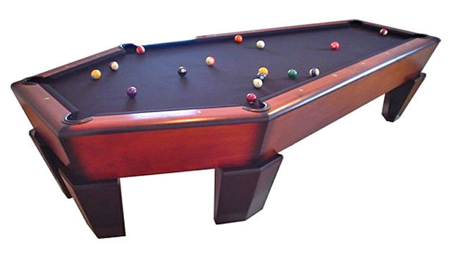 This Pool Table, Named U201cThe Manhattanu201d And Created By Casket Furniture,  Doubles As A Gaming Center And An Actual Coffin For When The Owner Passes  On To The ...