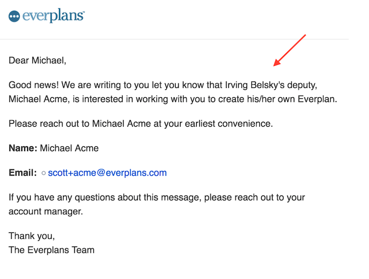 email offering everplan