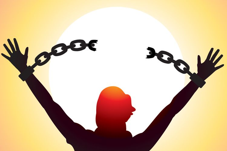 breaking free from chains in a sunrise