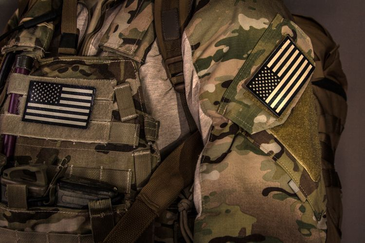 camouflage american flag patches