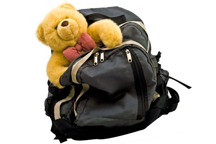 childs backpack teddy bear