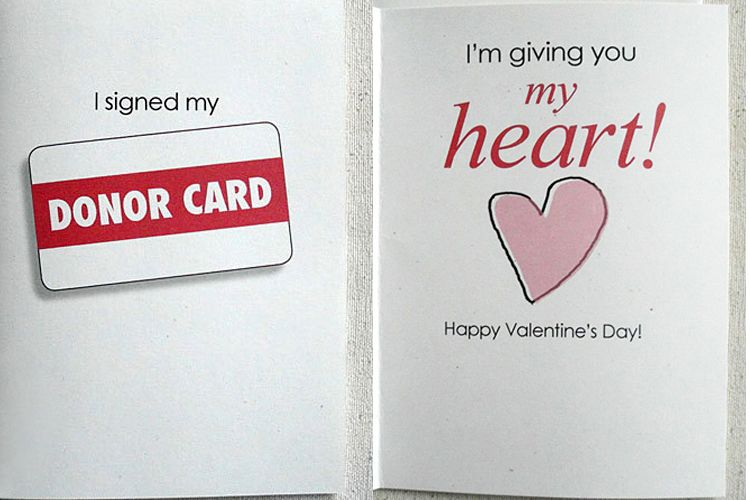 valentine's day donor card