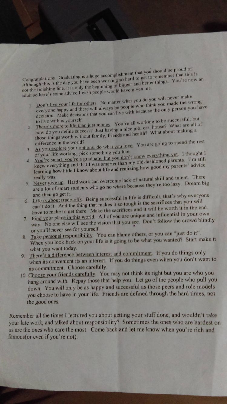 english professor letter to students