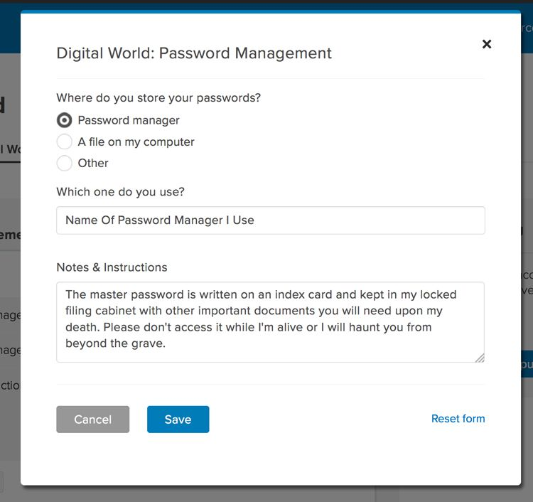 everplans password manager modal