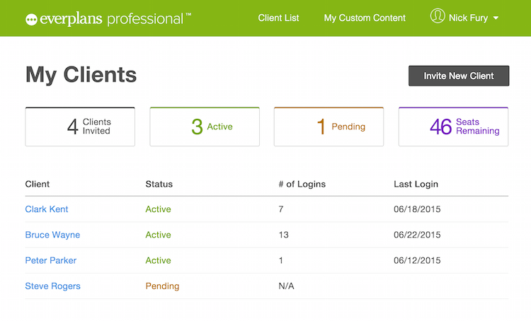 everplans professional dashboard