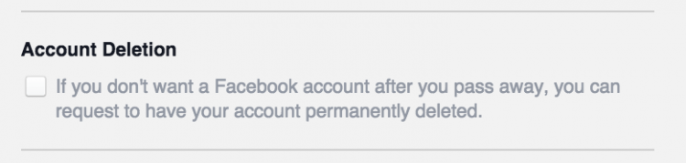 facebook delete account option