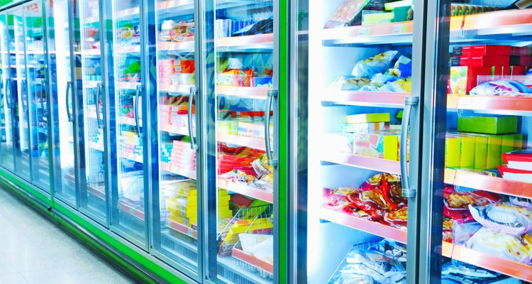 frozen food aisle at the supermarket