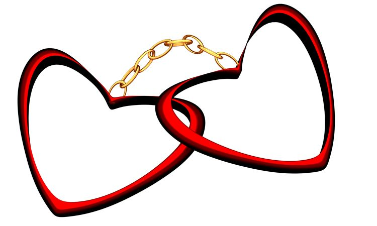 hearts chained together