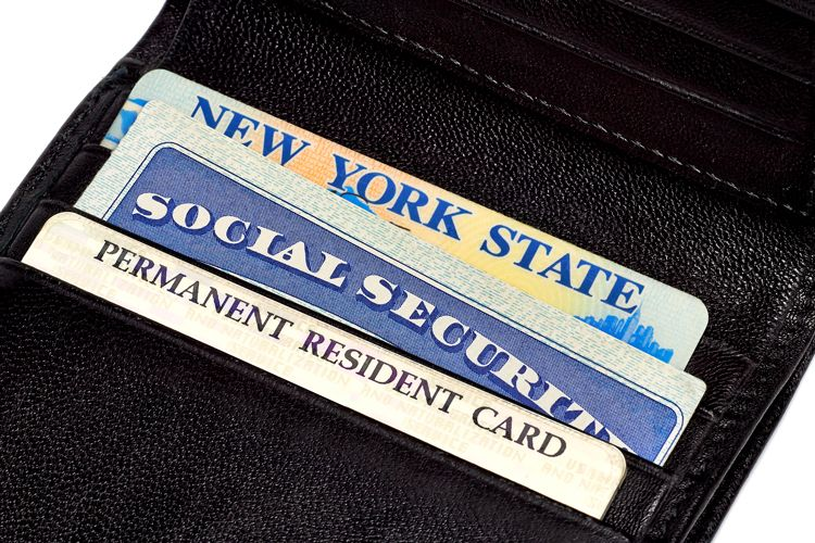 identification cards in a wallet