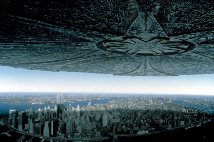 Independence Day spaceships over new york city