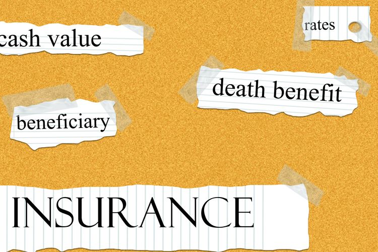 life insurance terms on corkboard