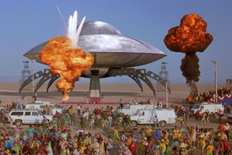Mars Attacks spaceship and explosions