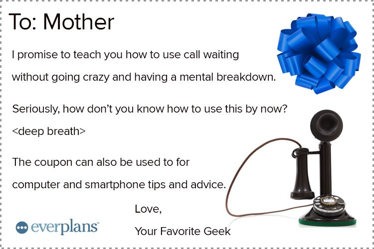 mothers day card adult kids call waiting