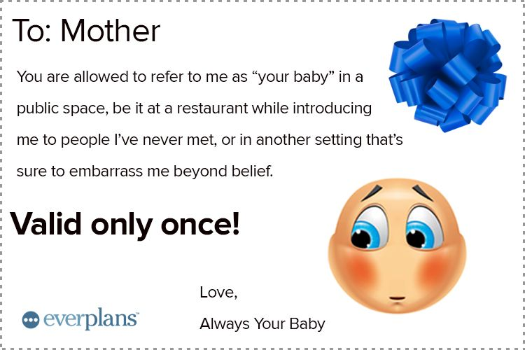 mothers day card adult kids my baby