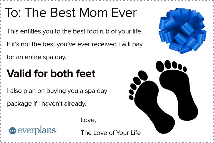 mothers day card husband foot rub