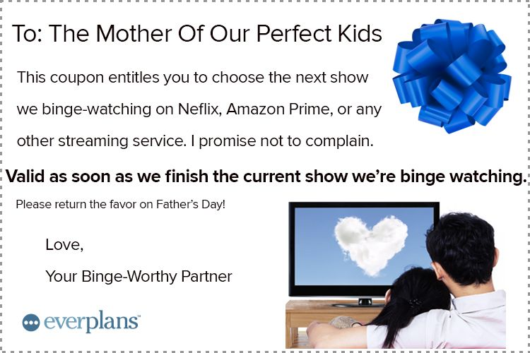 mothers day card husband binge watch
