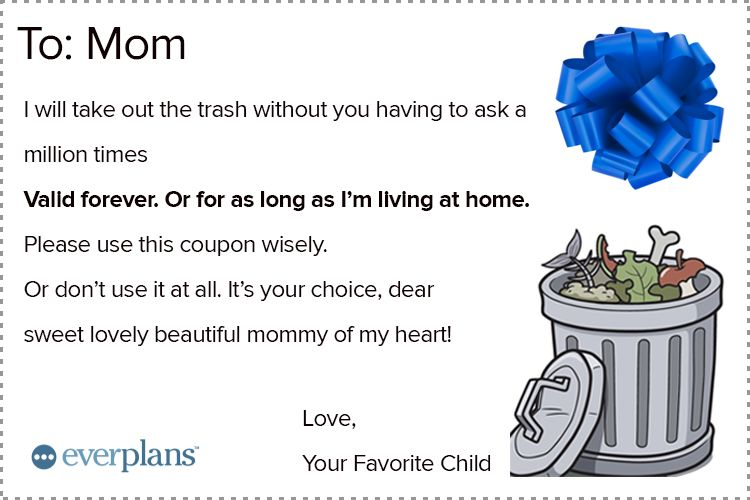 mothers day card teen garbage removal