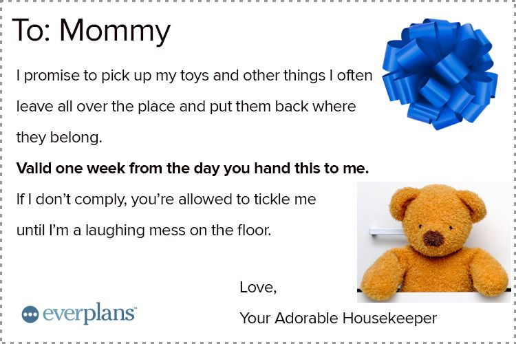 mothers day card toddler housekeeping