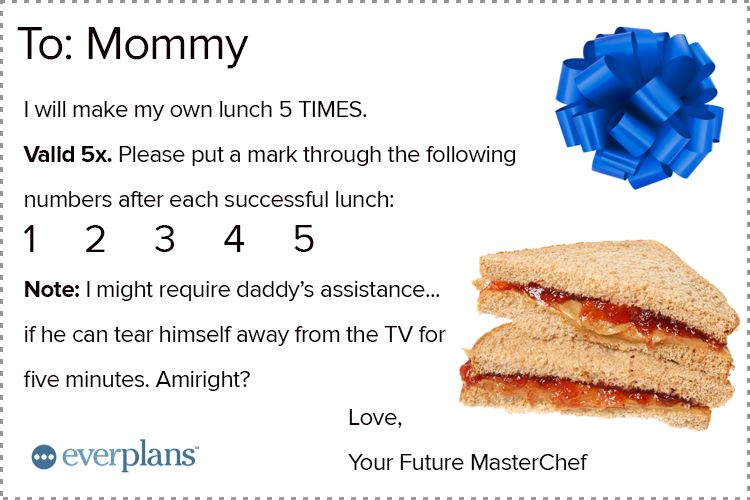 mothers day card toddler lunch