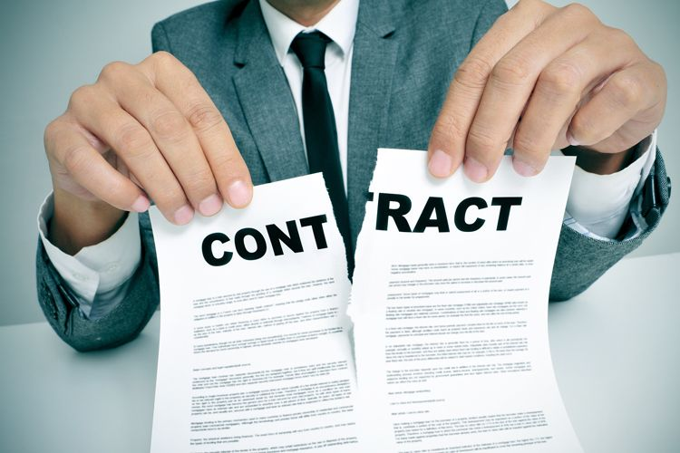 ripping contract in half