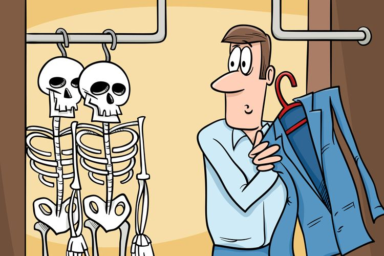 skeletons hanging in closet cartoon