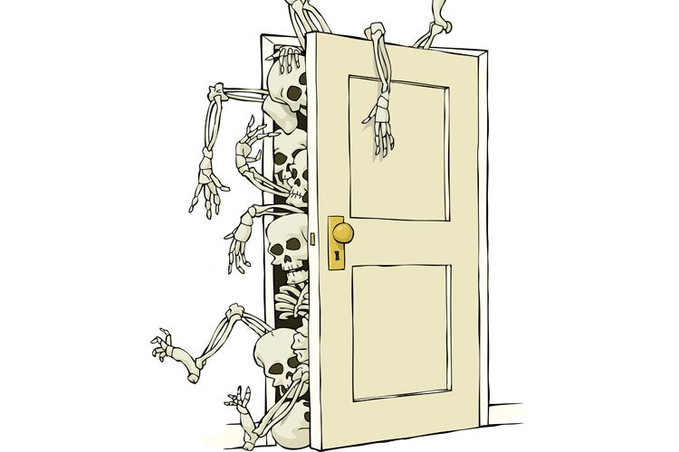 skeletons pouring out of a closet