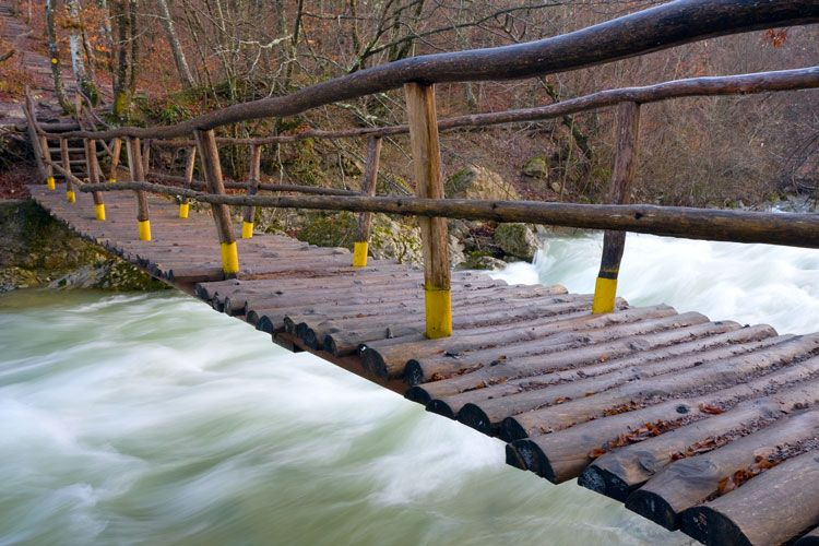 wooden bridge over a river