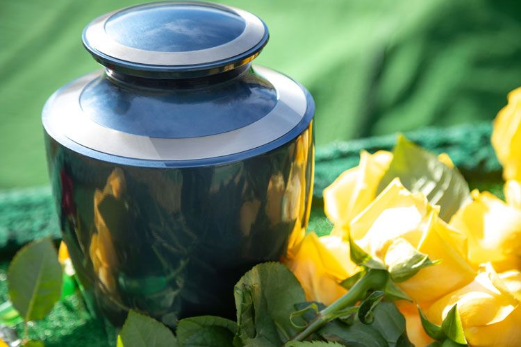 cremation urn with flowers