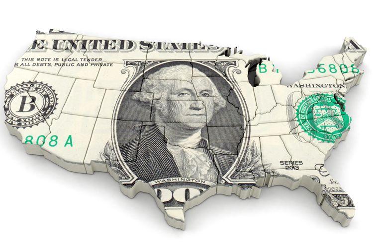 dollar map of united states