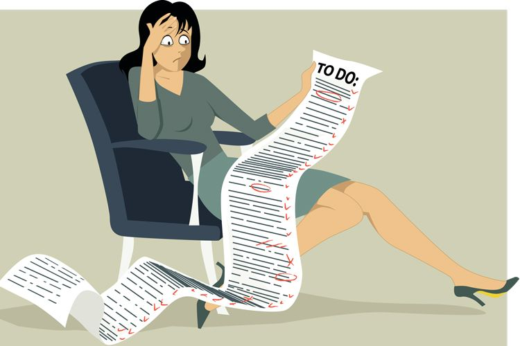 overwhelmed adult with to-do list