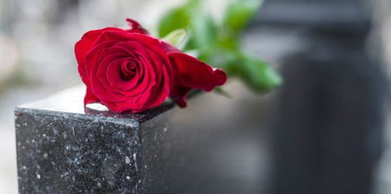 traditional funeral rose on headstone