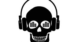 skull listening to rocking music